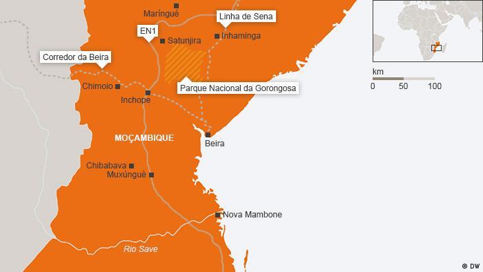 Karte Zentral-Mosambik Portugiesisch
