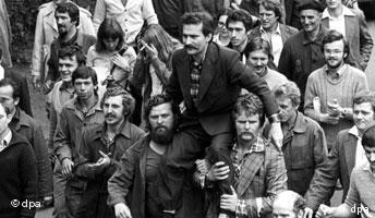 Lech Walesa in a crowd at a Solidarity demonstration in Gdansk in 1980