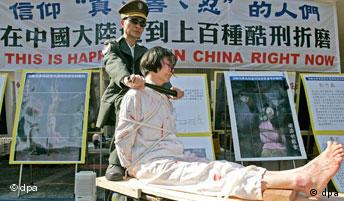 Falun Gong activists stage a protest to raise awareness of human rights
