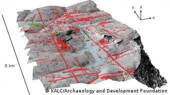 Shaded relief map of terrain beneath the vegetation in the Phnom Kulen acquisition area, with elevation derived from the lidar digital terrain model at 0.5m resolution and 4x vertical exaggeration. Green denotes previously-documented archaeological features; areas shaded red contain newly-documented features indicative of an extensive urban layout. (Image: Archaeology and Development Foundation - Phnom Kulen Program) Grafik/Bilder zu dem neuen archäologischen Funden in Kambodscha. PRESSEBILD Hi-res versions of the images are downloadable from here: http://angkorlidar.org/assets/internal/2013-06539R.zip Username: kalc Password: lidar2012 Captions are included. COPYRIGHT: All images attributed to Khmer Archaeology LiDAR Consortium (KALC), except for Figure S1 which is KALC and the Archaeology and Development Foundation. Deutsche Welle has my permission and the permission of all copyright holders to re-use these images as you see fit.