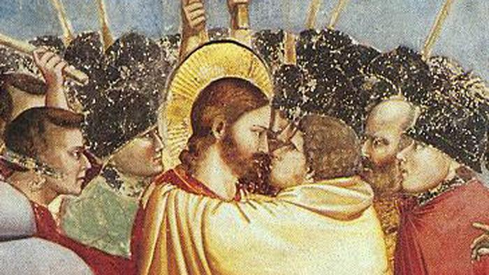 Judas' kiss in a paiinting by Giotto