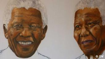 A double portrait of an elderly, smiling Nelson Mandela