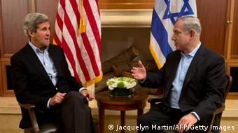 US Secretary of State John Kerry (L) meets with Israeli Prime Minister Benjamin Netanyahu in Jerusalem, on June 27, 2013. Kerry is in Israel for the fifth time in three months, to make further efforts to resume peace talks between the Jewish country and the Palestinians. AFP PHOTO/POOL/JACQUELYN MARTIN (Photo credit should read JACQUELYN MARTIN/AFP/Getty Images)