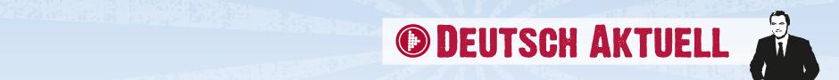 Logo von Deutsch Aktuell, ein Nachrichtensprecher vor blauem Hintergrund