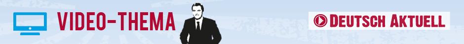 Logo von Video-Thema, ein Nachrichtensprecher vor blauem Hintergrund