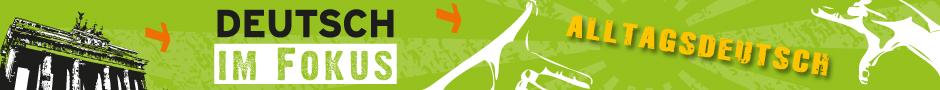 Logo von Alltagsdeutsch, das Brandenburger Tor vor grünem Hintergrund