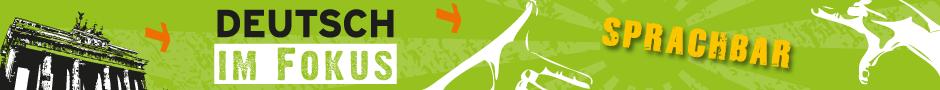 Logo von Sprachbar, das Brandenburger Tor vor grünem Hintergrund