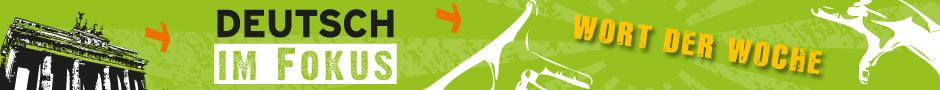 Logo vom Wort der Woche, das Brandenburger Tor vor grünem Hintergrund