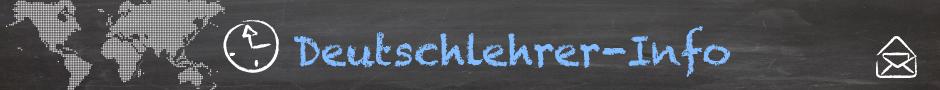 Logo von Deutschlehrer-Info, eine Weltkarte, die auf eine Tafel gezeichnet wurde