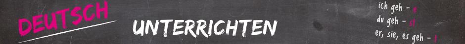 Logo von Deutsch unterrichten, Verbkonjugationen, die auf eine Tafel geschrieben wurden