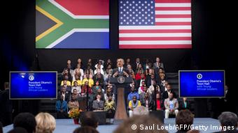 US President Barack Obama holds a town hall meeting with young African leaders at the University of Johannesburg Soweto in Johannesburg, South Africa, on June 29, 2013. US President Barack Obama met the family of his 'inspiration' Nelson Mandela but was unable to visit the anti-apartheid legend who remains critically ill in hospital.AFP PHOTO / Saul LOEB (Photo credit should read SAUL LOEB/AFP/Getty Images)