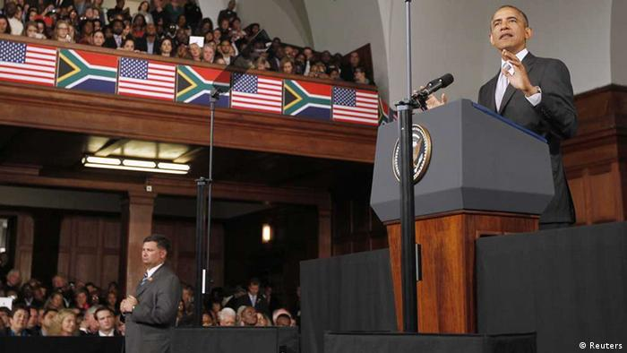 US President Barack Obama delivers remarks at the University of Cape Town on Sunday. (Photo: Jason Reed/Reuters)