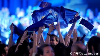 Croatians celebrating EU Membership with flags