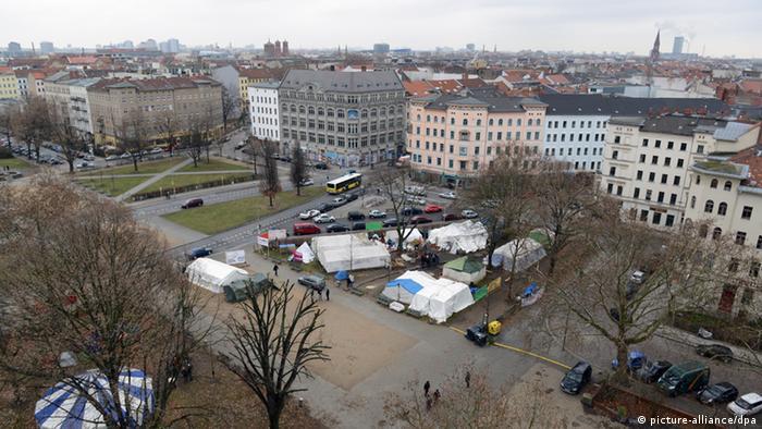 Campement de réfugiés sur la place Oranienplatz à Berlin-Kreuzberg