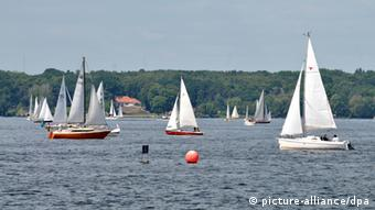 Sailboats on Wannsee in Berlin.