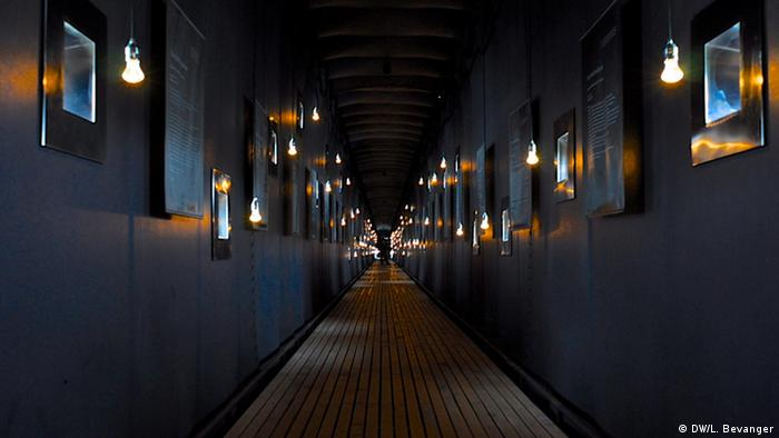 The dimly -lit corridor at the monument
