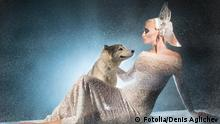 #48047602 - Snow maiden with dog