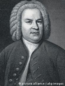 A black and white rendering of Johann Sebastian Bach's appearance