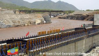 A picture taken on May 28, 2013 shows the Blue Nile in Guba, Ethiopia, during its diversion ceremony. Ethiopia has begun diverting the Blue Nile as part of a giant dam project, officials said on May 29, 2013 risking potential unease from downstream nations Sudan and Egypt. The $4.2 billion (3.2 billion euro) Grand Renaissance Dam hydroelectric project had to divert a short section of the river -- one of two major tributaries to the main Nile -- to allow the main dam wall to be built. 'To build the dam, the natural course must be dry,' said Addis Tadele, spokesman for the Ethiopian Electric Power Corporation (EEPCo), a day after a formal ceremony at the construction site. AFP PHOTO / WILLIAM LLOYD GEORGE (Photo credit should read William Lloyd-George/AFP/Getty Images)