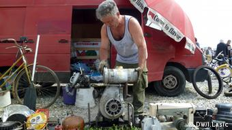 A man at a flea market in Zagreb