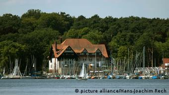 A view of the sailing clubhouse from across Wannsee, Berlin.
