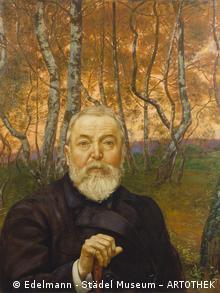 Ганс Тома. Автопортрет на фоне березового леса.