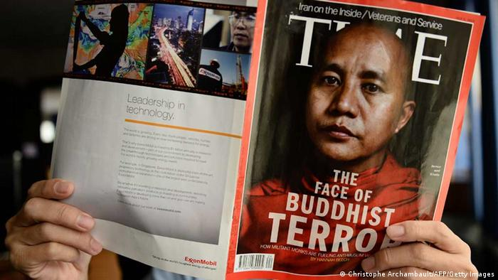 Time magazine cover shows a bust shot of Wirathu with the caption: The face of Buddhist terror
