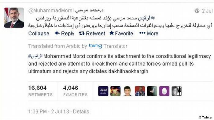 Screenshot from Muhammad Mursi's Twitter account. (Source: https://twitter.com/)