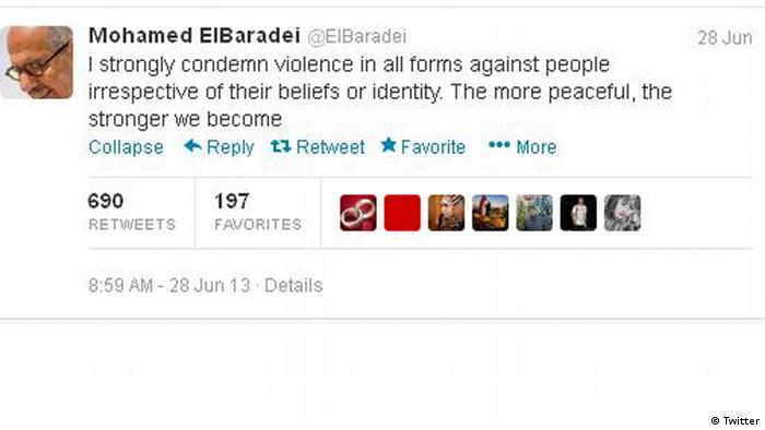 Screenshot from Mohammed El Baradei's Twitter account. (Source: https://twitter.com/)