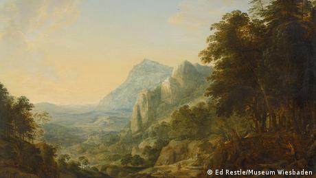 Herman Saftleven, Weite Berglandschaft mit Holzfäller und Reisenden, 1642, Dauerleihgabe aus Privatsammlung Berlin, Foto Ed Restle, Museum Wiesbaden