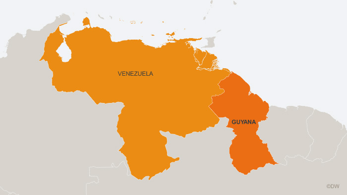 A map of Venezuela and neighboring Guyana