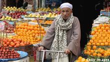 Ägypten Kairo Markt Stand Orangen Wirtschaft Obst Verkäufer