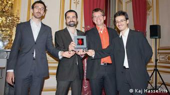 Founders of Ynsect accept the 2012 Prix Agropole for their start-up; Ynsect President Jean-Gabriel Levon (featured in the radio report) is the third guy in the picture.