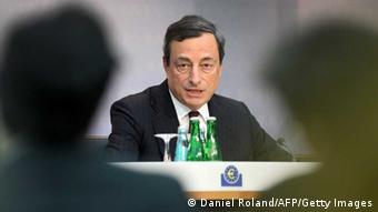 Mario Draghi, President of the European Central Bank, ECB addresses a press conference following the meeting of the Governing Council in Frankfurt am Main, central Germany, on July 4, 2013. The European Central Bank pledged to keep its interest rates at their current record low levels for an 'extended period' or even cut them further in order to support the ailing eurozone economy. AFP PHOTO / DANIEL ROLAND (Photo credit should read DANIEL ROLAND/AFP/Getty Images)