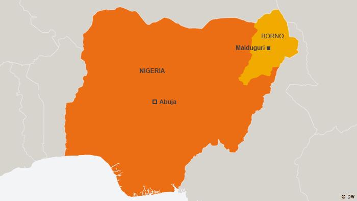 Karte Nigeria Borno, Maiduguri, Abuja