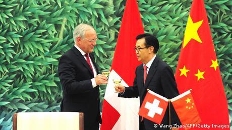 Unterzeichnung des Freihandelsabkommens China-Schweiz im Juli 2013
