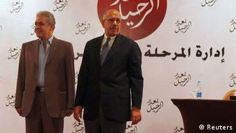 Senior opposition figure Mohamed El Baradei (R) and Leftist leader Hamdeen Sabahi stand during a news conference ahead of the planned protest against Egypt's President Mohamed Mursi, at the end of the month, in Cairo June 22, 2013. Anti-Mursi protests have been planned for June 30, when Mursi completes a first year in office marked by division and economic problems, by the president's opponents. REUTERS/Asmaa Waguih (EGYPT - Tags: POLITICS CIVIL UNREST)