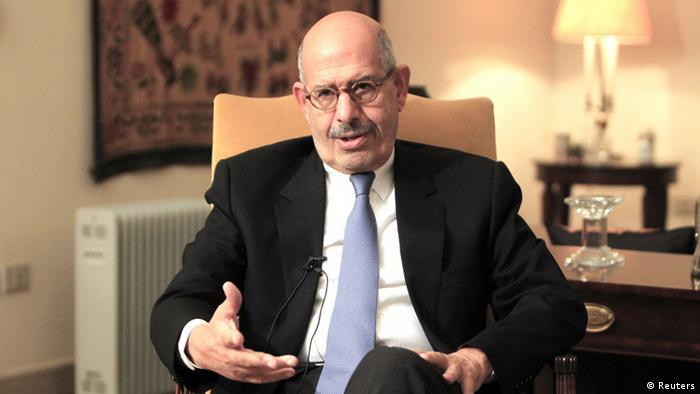 REFILE - CORRECTING MONTH IN SECOND SENTENCE Opposition leader Mohamed ElBaradei speaks during an interview in his home in Cairo in this November 24, 2012 file photo. ElBaradei, a former U.N. nuclear agency chief, will be named Egypt's interim prime minister later on July 6, 2013, a presidency source told Reuters. REUTERS/Mohamed Abd El Ghany/Files (EGYPT - Tags: POLITICS TPX IMAGES OF THE DAY)