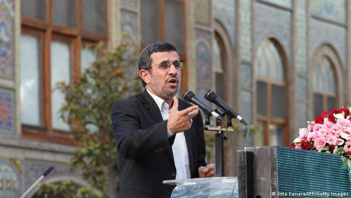 Iranian outgoing President Mahmoud Ahmadinejad in mid-June gives a speech during a ceremony at Tehran's Golestan Palace celebrating its inscription on the UNESCO World Heritage List on July 7, 2013. The palace, built in the 16th century, is a masterpiece of the art of the Qajar period. AFP PHOTO/ATTA KENARE (Photo credit should read ATTA KENARE/AFP/Getty Images)