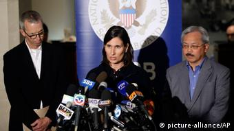 National Transportation Safety Board Chairwoman Deborah Hersman, center, makes a statement alongside San Francisco International Airport Director John Martin, left, and San Francisco Mayor Ed Lee during a press briefing on the investigation of the crash of Asiana Flight 214 at the San Francisco International Airport in San Francisco, Sunday, July 7, 2013. (AP Photo/Marcio Jose Sanchez)