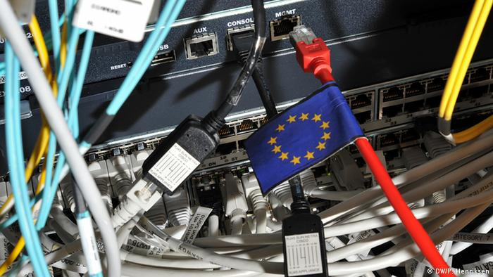 Computer cables marked with the EU flag
