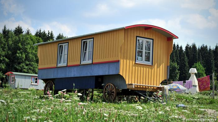 Circus wagon in a field
