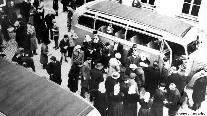 Victims of the euthanasia program were transported to their deaths in gray buses like the one pictured here Bruckberg.