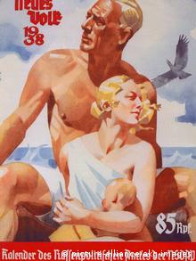 A Nazi poster dating back to 1938 shows the ideal man and woman with traits such as fair hair and blue eyes.
