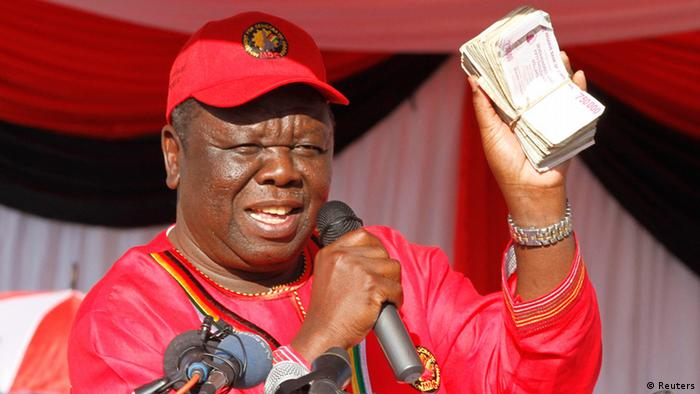 Zimbabwe opposition Movement For Democratic Change (MDC) leader Morgan Tsvangirai speaks at the launch of his party's election campaign in Marondera, about 70 km (43 miles) east of Harare, July 7, 2013. Tsvangirai, launching his third campaign to unseat veteran President Robert Mugabe. REUTERS/Philimon Bulawayo (ZIMBABWE - Tags: POLITICS ELECTIONS)