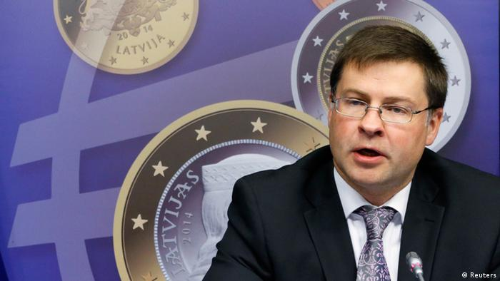 Latvia's Prime Minister Valdis Dombrovskis addresses a news conference on the adoption of the euro by Latvia at the European Union council building in Brussels July 9, 2013. The euro zone embraced tiny Latvia as its newest member on Tuesday, eager to show that the bloc is not disintegrating while doubts remain about southern Europe's ability to overcome more than three years of crisis. REUTERS/Francois Lenoir (BELGIUM - Tags: POLITICS BUSINESS)