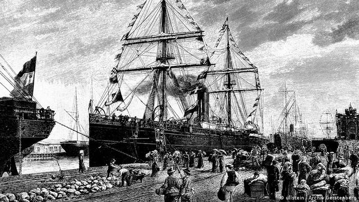 Bremerhaven tinha um dos maiores portos de embarque de emigrantes da Europa. Fotografia do final do séc. XIX