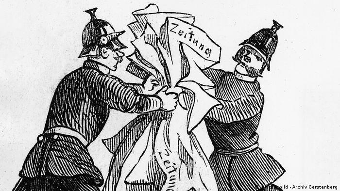 На цій карикатурі у журналі Kladderadatsch від 1860 року критикують цензуру у кайзерівській Німеччині