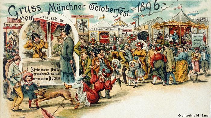 Deutschland Geschichte München Postkarte vom Oktoberfest 1896 (ullstein bild - Zangl)