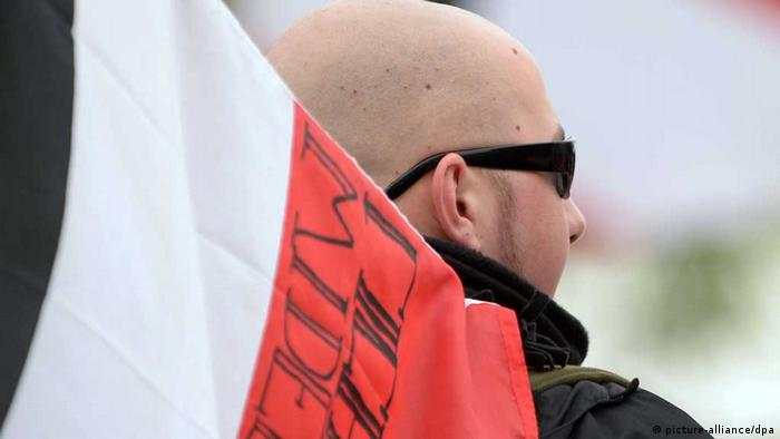 A right-wing demonstrator in Germany Photo: Peter Steffen/dpa